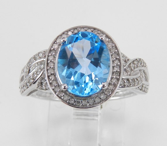 3.50 ct Diamond and Blue Topaz Halo Engagement Promise Ring White Gold Size 7