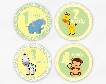 Baby Monthly Stickers for Photos - Green and Yellow Jungle Animals Set of Waterproof Tear Resistant Stickers - Gender Neutral (6002-2)