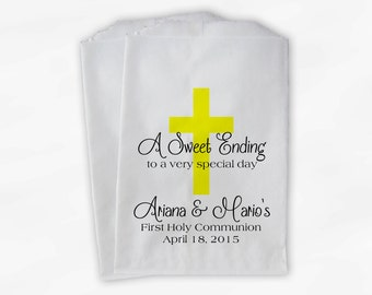 First Communion Favor Bags - Baptism or Religious Party Custom Favor Bags - Set of 25 Yellow Paper Treat Bags (0073)