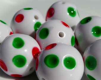 20mm, 8CT, Green & Red Polka Dotted bubble gum chunky beads, D9