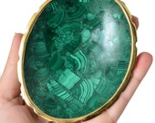 "Precious! 4.2"" MALACHITE Crystal Bowl Oval for Altar Offering, Decor, Healing Crystal and Stone Protection Tumbled Stone #SP7"