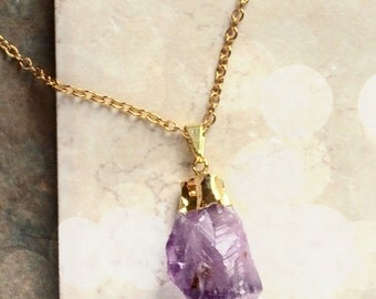 Boho Jewelry Crystal Amethyst Statement Necklace Pendant Necklace Bridesmaid Gift Bridal Gift Set Jewelry Limonbijoux