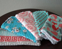 Baby Wash Cloths - Baby Girl Washcloths - Fox - Flowers - Pink and Aqua - Set of 5 - Baby Girl Gift