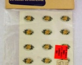 Vintage Water Mount Decal - Tiny Yellow Rose Flower with Leaves and Tinier White Flower - Set of 15 Identical Decals