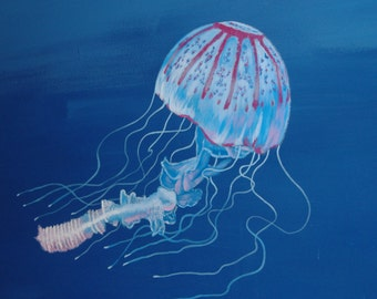 Beautiful jellyfish under the blue ocean
