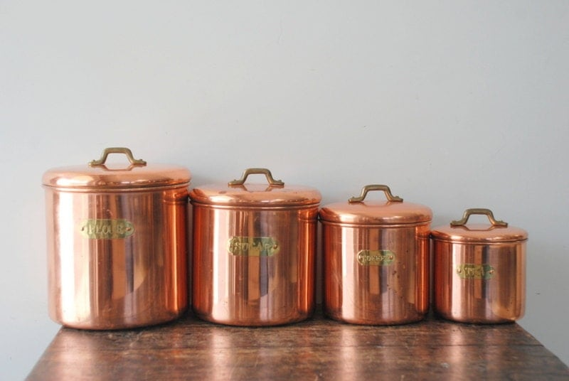 Vintage Copper Kitchen Canister Set With Brass Labels And