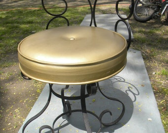 great shape vintage 1950s scrolled iron VANITY STOOL bench or SEAT