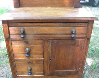 nice strong sturdy shape 1910s or older eastlake ANTIQUE OAK WASHSTAND pick up only
