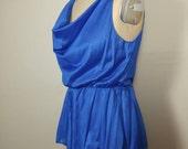Royal blue cowl neck teddy onesie bodysuit Medium