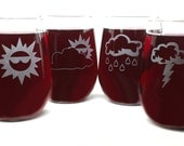 Weather Stemless Wine Glasses - Set of 4 - Optional Personalization