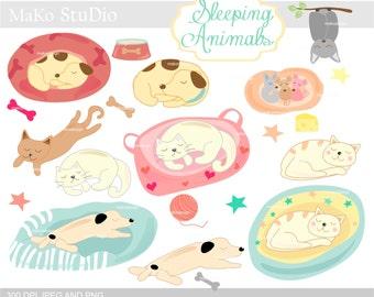 dog clip art ,cat clip art, Animals clip art ,baby animals clip art,  sleeping cat, sleeping dog