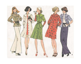 1970s Dress, Coat Dress or Top Simplicity 7050 Gathered Yoke Front Buttons Size 8-10 Bust 31.5-32.5 UNCUT Sewing Pattern