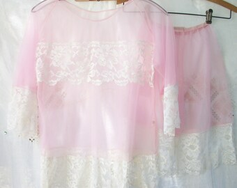 Soft Pink Pettipants & Top Nylon Chiffon w/ Lace Lingerie Honeymoon/Feminine SHEER 2 pce.  Bridal Shower Gift Romantic Girly Vintage 1960's