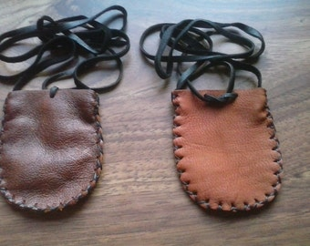 Unisex Leather Neck Bag- Pouch- Coin Pouch- Medicine Bag- Medicine Pouch- Handmade in the USA- Elusive Wolf