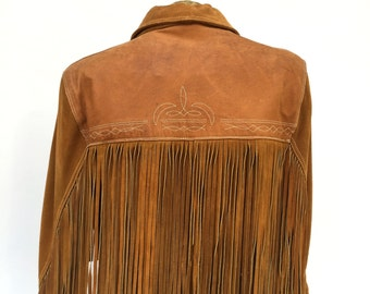 Suede and Leather Jacket, Men's Western Style, Long Fringe, Small