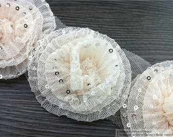 "10pcs 8cm 3.14"" wide apricot bridal wedding mesh patches appliques lace trim ribbon ftew free ship"