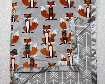 Minky Blanket, fox blanket, baby Blanket, baby boy, modern blanket, hipster baby, baby girl blanket, fox nursery, decor, modern arrow
