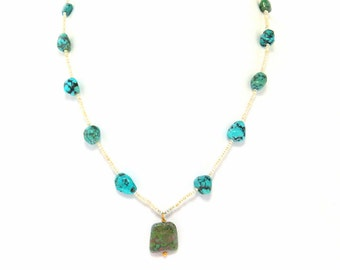 Vintage Seed Pearl Turquoise Necklace 14k Gold Clasp 60s