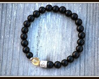 Men's Leo Bracelet, Men's Zodiac Bracelet, Astrology Bracelet, Leo Layering Bracelet, Black Onyx Bracelet, Men's Black Onyx Bracelet