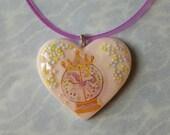 Carousel Unicorn Heart Pendant Jelly Necklace