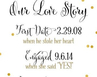 Love Story Sign | DIY PRINTABLE | Love Story Timeline | Custom Design | Quick Turnaround DIY Print