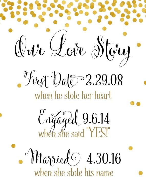 Love Story Sign DIY PRINTABLE Love Story Timeline Custom