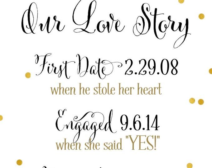 Love Story Sign | DIY PRINTABLE | Love Story Timeline | Custom Design