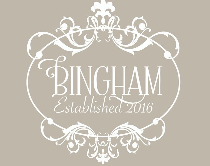Family Monogram Wall Decal | Family Name Established | Wedding Gift Last Name Established