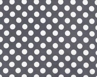 Gray and White Polka Dot Fabric