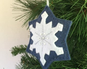 Snowflake Ornament blue and white felt hand stitched and beaded holiday decoration