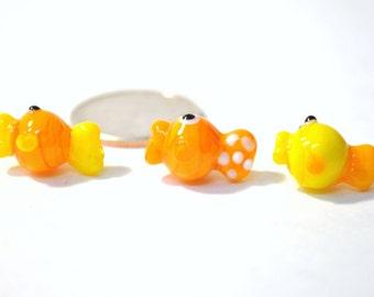 Glass Lampwork Beads- Goldfish 3 Piece set