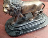Vintage Brass or Bronze Lion on Marble Base Signed Holwech Excellent Condition