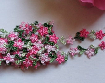 """1/2""""wide Pink/Green Daisy Flower Embroidery Venise Lace  1 yard and 14 inch cut"""