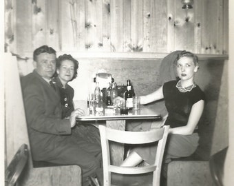 "Vintage Snapshot - ""Saturday Night at the Knotty Pine Cafe"" - Beer Glasses - Diner - Blonde Bombshell - Found Original Photo"