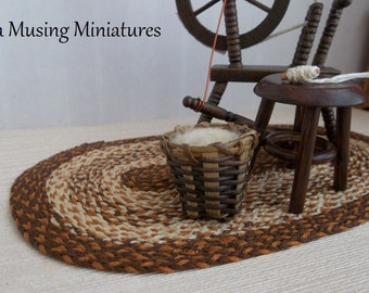 Basket of Wool Roving in 1:12 Scale for Dollhouse Miniature Medieval Tudor or Colonial Roombox