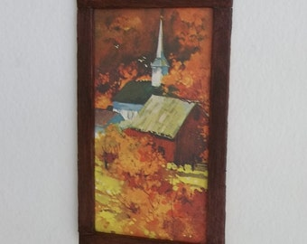 New England Church in Autumn Limited Dollhouse Miniature Art