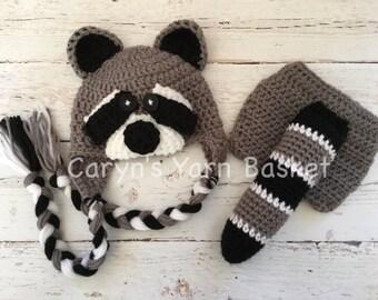 READY TO SHIP Baby Boy Raccoon Hat & Diaper Cover Set, Newborn, 0-3, 3-6