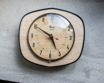 French Wall Clock // 1960 Laminate Faux Wood