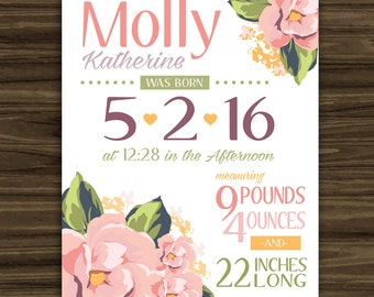 Floral Baby Birth Statistics Sign - Wall Art - Size and Color Options
