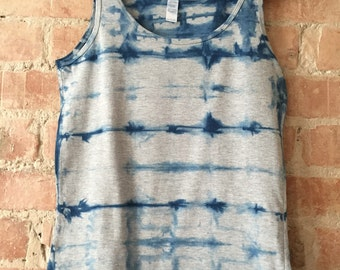Shibori Indigo and Grey Vest