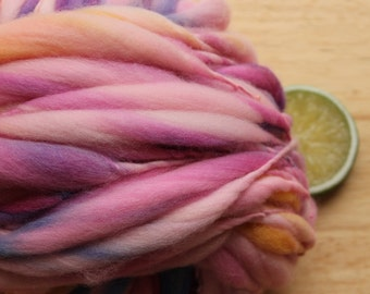 RESERVED Watercolor - Handspun Wool Yarn Pink Purple Yellow Thick and Thin Skein
