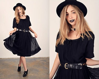 50s Black Chiffon Dress Vintage Little Black Party Dress
