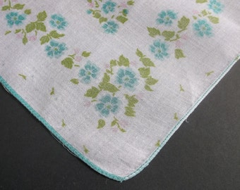 Vintage Handkerchief, Vintage Hankies, Handkerchiefs, Print Hankie, 1950s, Floral, Aqua, Hankerchiefs, Hankerchief, All Vintage Hankies
