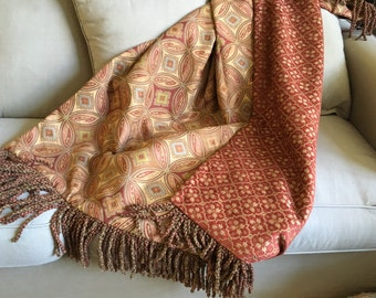 Moroccan Throw, Mysterious Mid Eastern, Luxurious Bedding Red, Exotic Design Throws, Designer Throws, Sofa Cover, Red Tapestry Bedding, OOAK