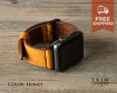 Apple Watch Band Leather Watch Bands Minimal in Honey Brown Color for Series 1 and 2 [Handmade] [Custom Colors] [FREE SHIPPING]