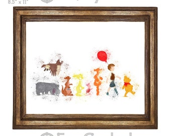 Winnie the Pooh & Friends Watercolor Print Giclee Art Print Archival Print Wall Art Print Wall Decor Piglet Eeyore Tigger Christopher Robin