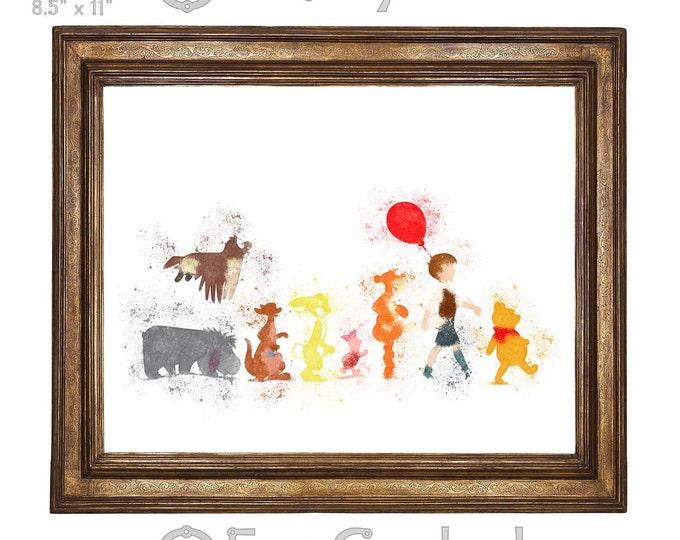 Winnie the Pooh & Friends Watercolor Print Giclee Art Print Archival Print Wall Art Print Wall Decor Piglet Eeyore Tigger Christopher Robin