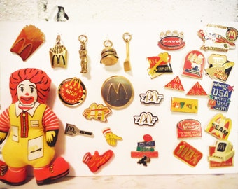 Vintage Mcdonald's employee memorabilia pinbacks charms collection employee award pins doll Ronald Mcdonald