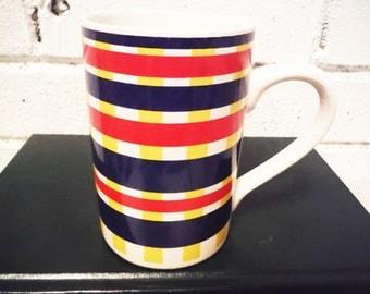 Vintage liz claiborne coffee mug 1980s plaid stripes red yellow blue preppy