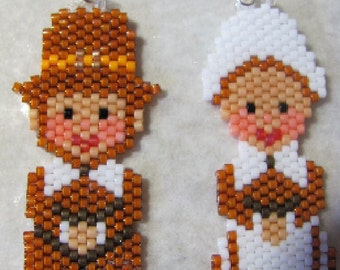 Hand Beaded Pilgrims earrings